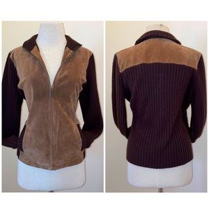 Ralph Lauren leather, cashmere, angora & wool equestrian sweater Size large
